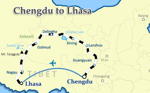 Chengdu to Tibet Travel Route Map