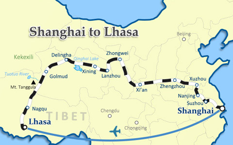 Shanghai to Tibet Travel Route Map