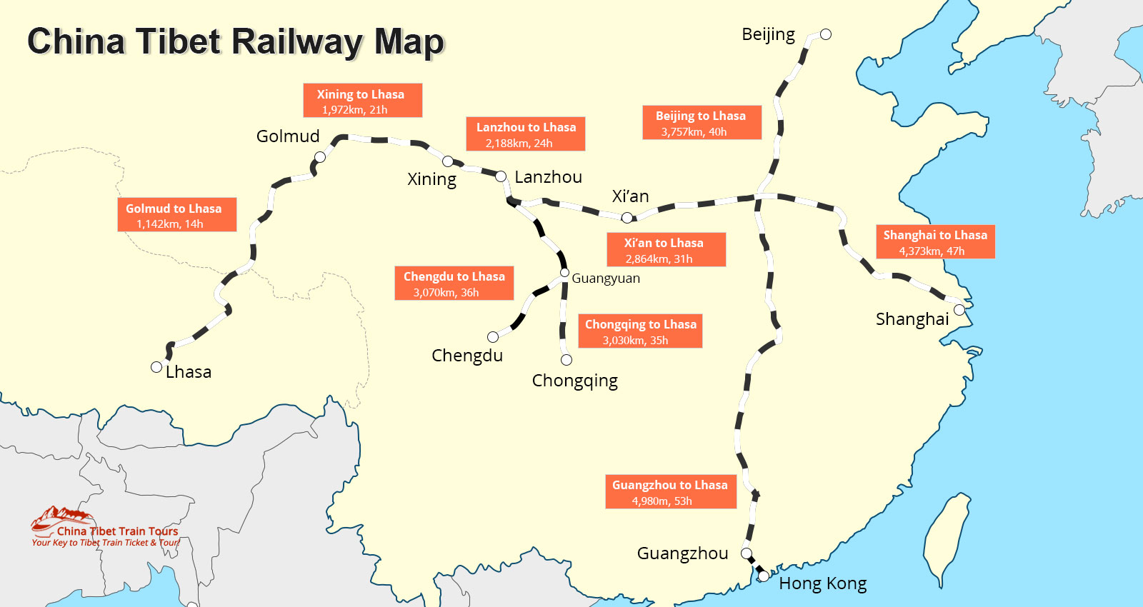 Lhasa China Map.Tibet Train Route All Trains To Tibet