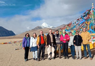 Traveler photo: Taking a picture with the sacred Mount Kailash as background. (August 2020)