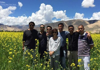 Traveler photo: Took a photo in the field of blooming rape flowers while heading to Everest Base Camp. (August 2020)