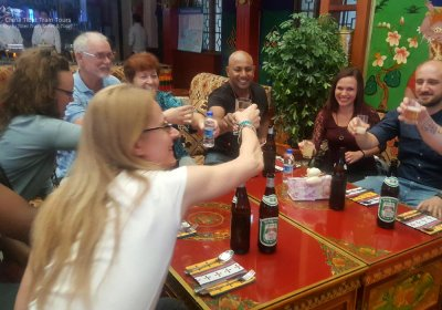 Traveler photo: Toasting for the wonderful trip to Tibet in a local restaurant. (July 2020)