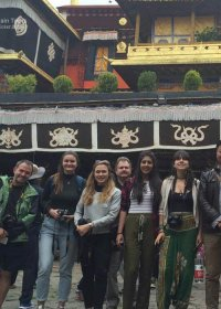 Traveler photo: Taking a group picture with Jokhang Temple. (June 2020)