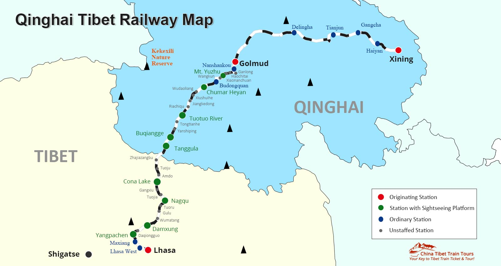 Lhasa Express Train Guide Sky Train To Tibet Qinghai Tibet Train - Tibet in world map