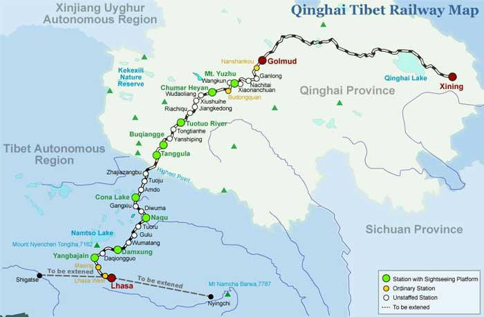 Tibet train map tibet railway map qinghai tibet railway map publicscrutiny Choice Image