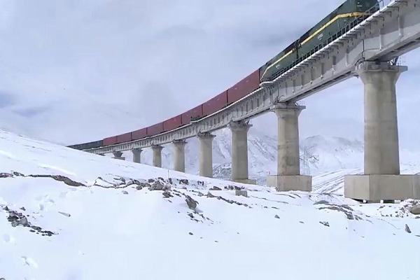 Tibet train running on the rails built on the permafrost