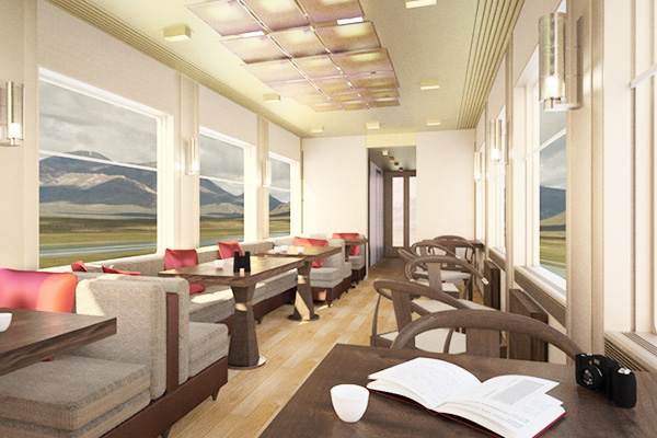 Scenic lounge and dining car interior