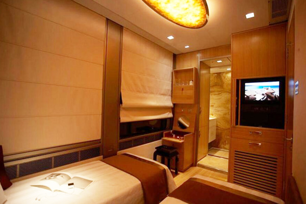 Sleeping suite interiors of Tangual Luxury Train