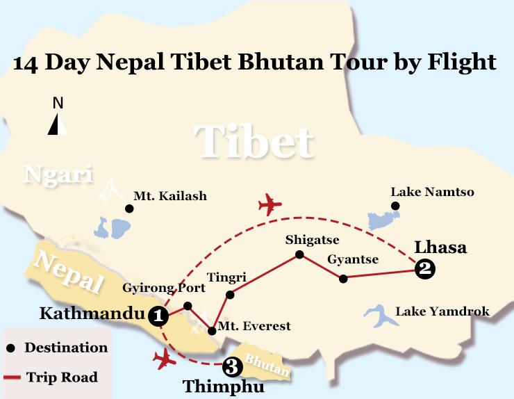 14 Days Nepal Tibet Tour by Flight and Bhutan Cultural Tour