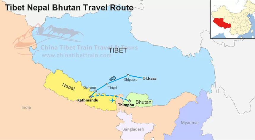Tibet Nepal and Bhutan Travel Route Map