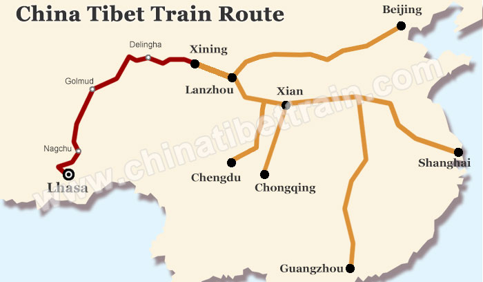China Tibet Train Route Map