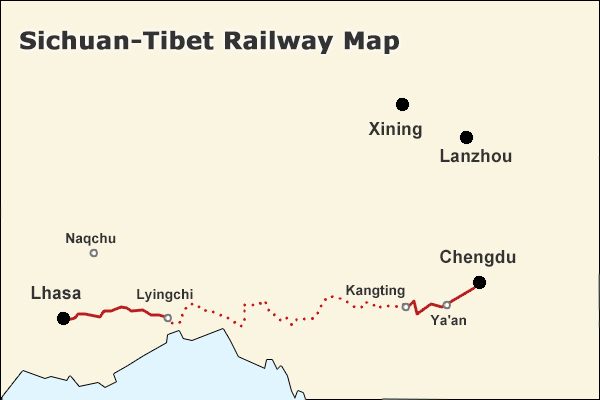 Map of Sichuan Tibet Train Route