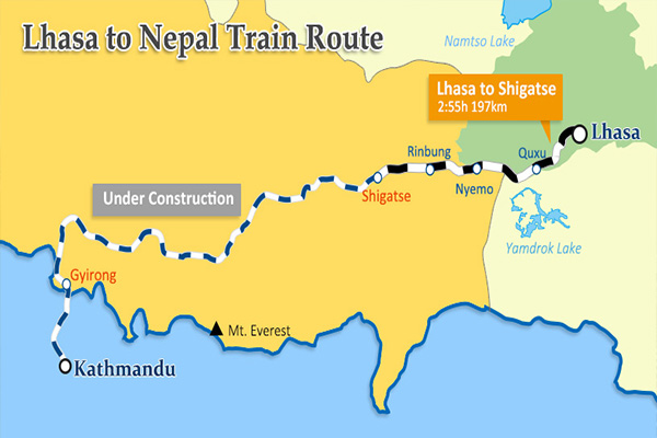 Lhasa to Kathmandu train route map