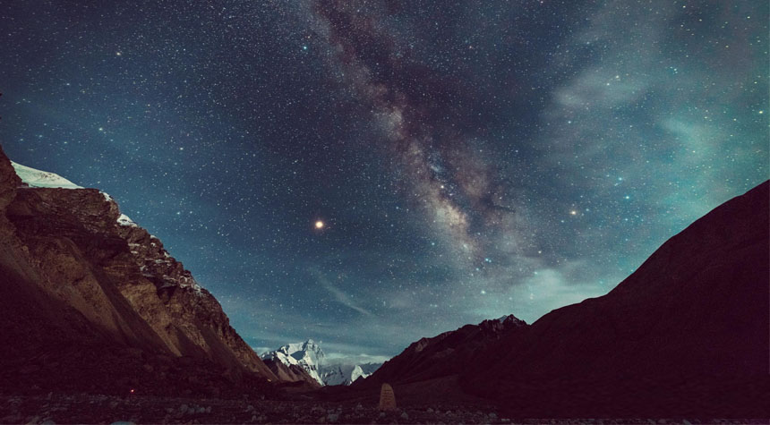 Tibet Everest Base Camp stunning starry skies view in night