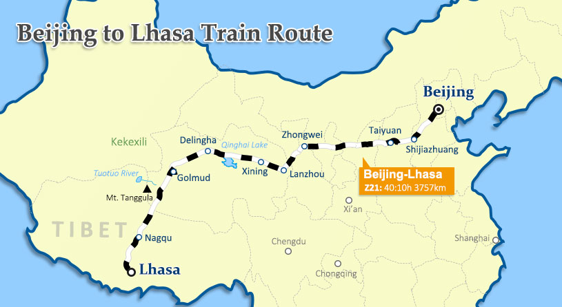 Beijing to Lhasa Train Map