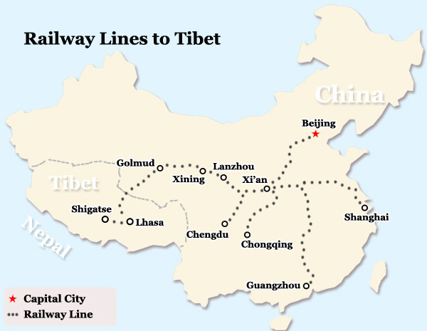 Tibet Train Map Tibet Railway Map