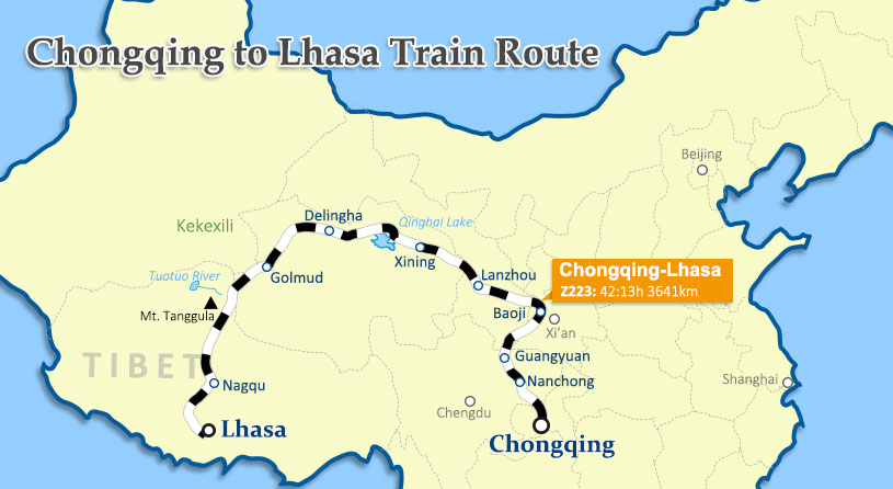 Chonqqing to Lhasa Train Map