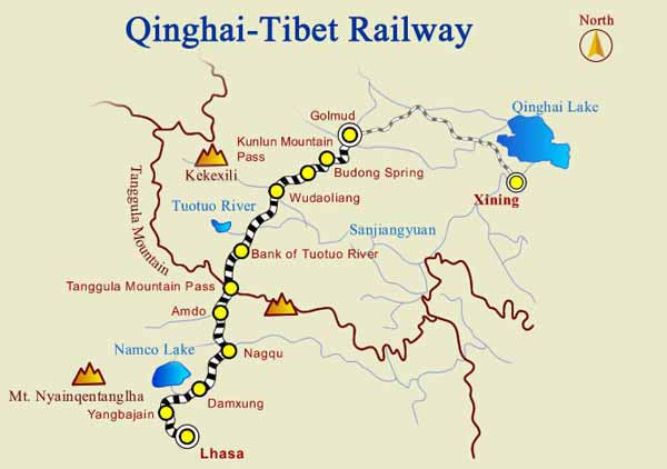 Route Map of Golmud Lhasa Train