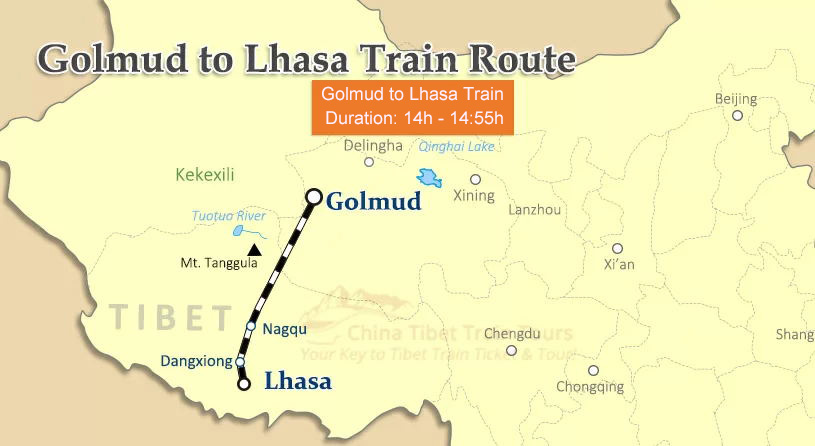 Golmud to Lhasa Train Map