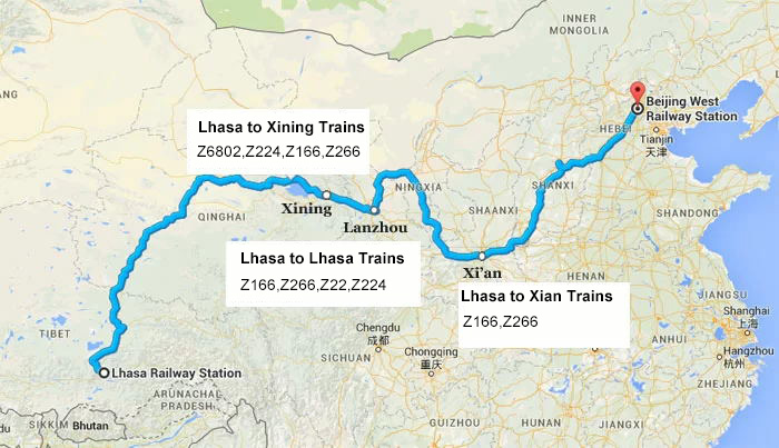 Map of Train Leaveing Lhasa to Beijing