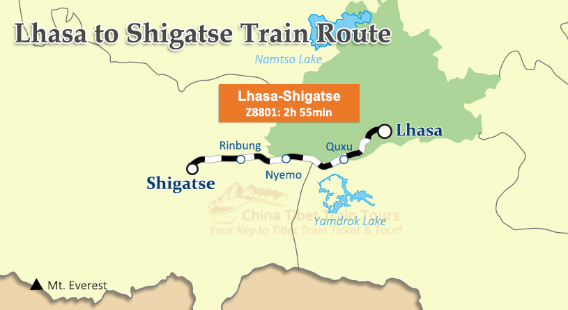 Lhasa to Shigatse Train Route Map