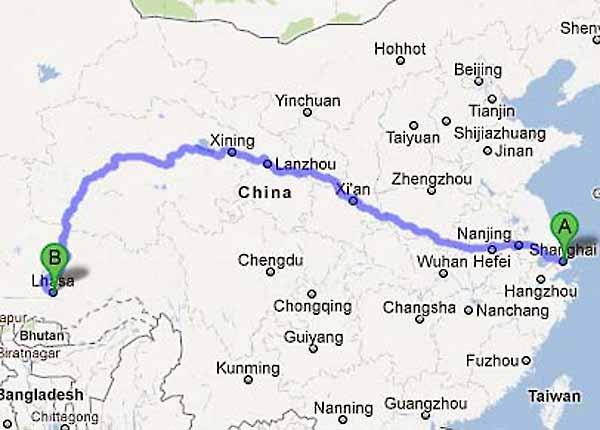 Lhasa China Map.Tibet Train Map Tibet Railway Map