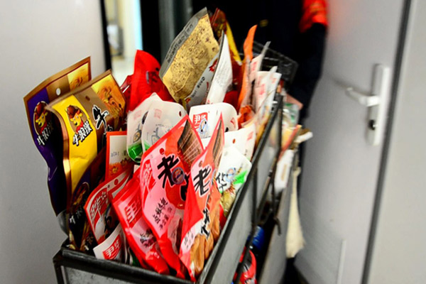 Snack trolley served in the train