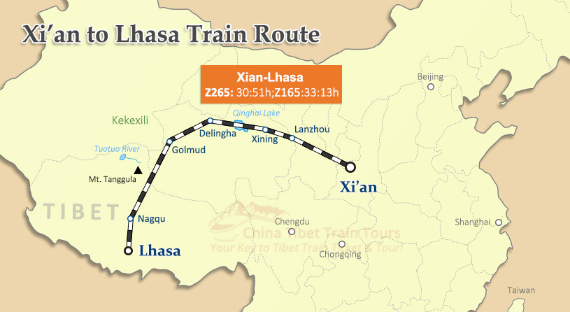 Xian to Lhasa Train Map