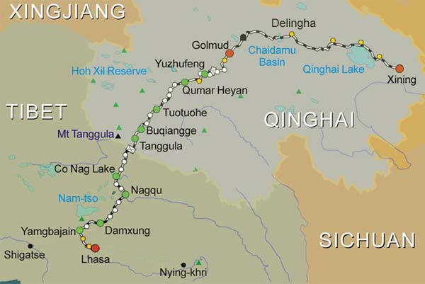 Route Map of Xining Lhasa Train