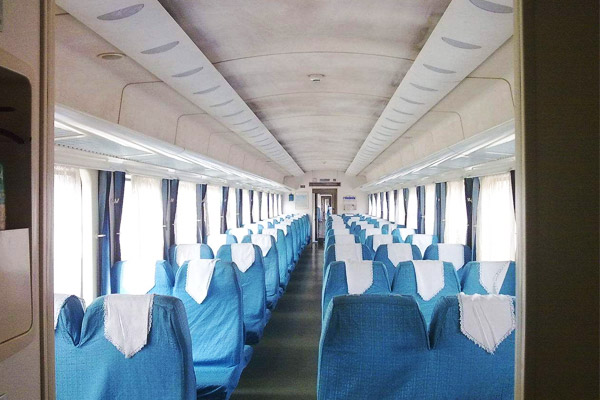 Hard seat on Tibet train