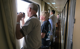 Foreign travellers on Tibet train