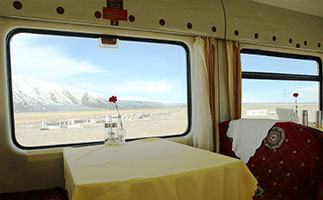 Dining car with large windows on Tibet train