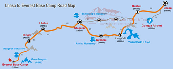 Road Map from Lhasa to Everest Base Camp