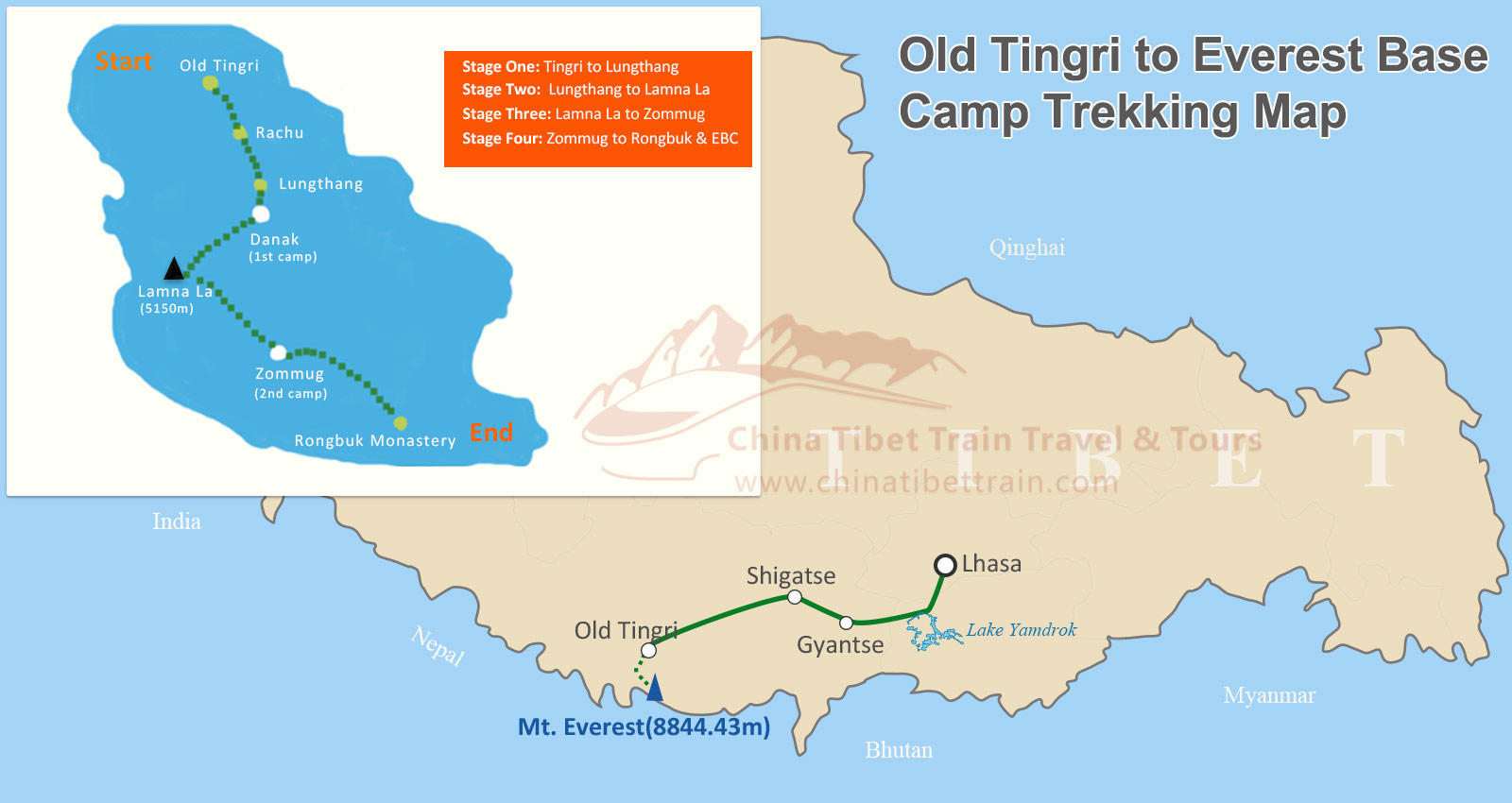 Trekking Map from Old Tingri to Everest Base Camp