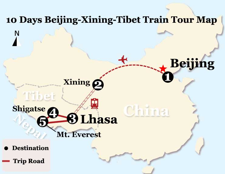10 Days Xining and Tibet Everest Tour from Beijing Map