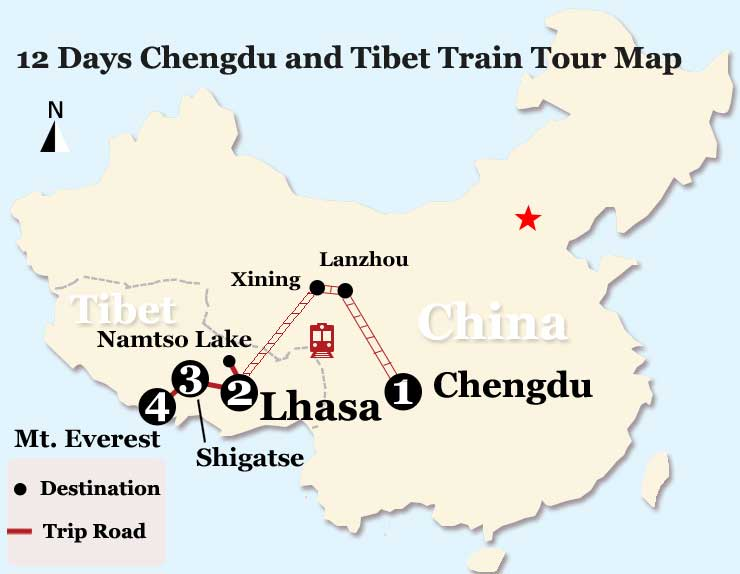 12 Days Chengdu and Tibet Train Tour Map