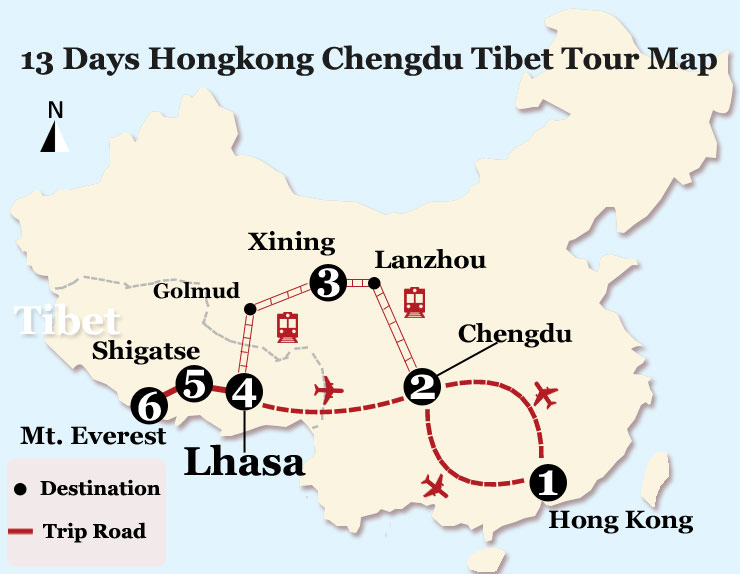 13 Days Chengdu Tibet Train Tour from Hongkong Map