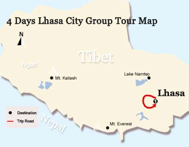 4 Days Lhasa City Group Tour Map