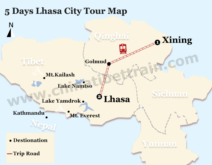5 Days Lhasa City Tour Map