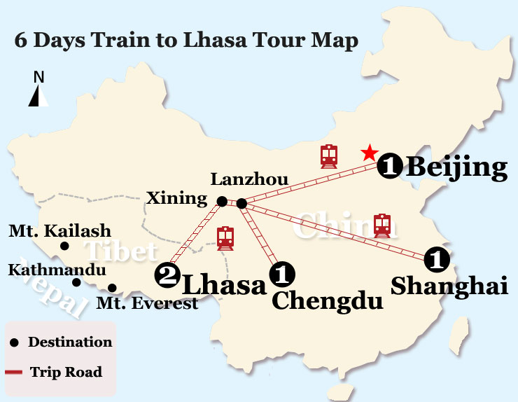 6 Days Beijing Lhasa Train Tour Map