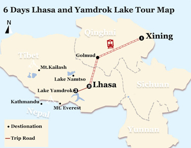 6 Days Lhasa and Yamdrok Lake Tour Map