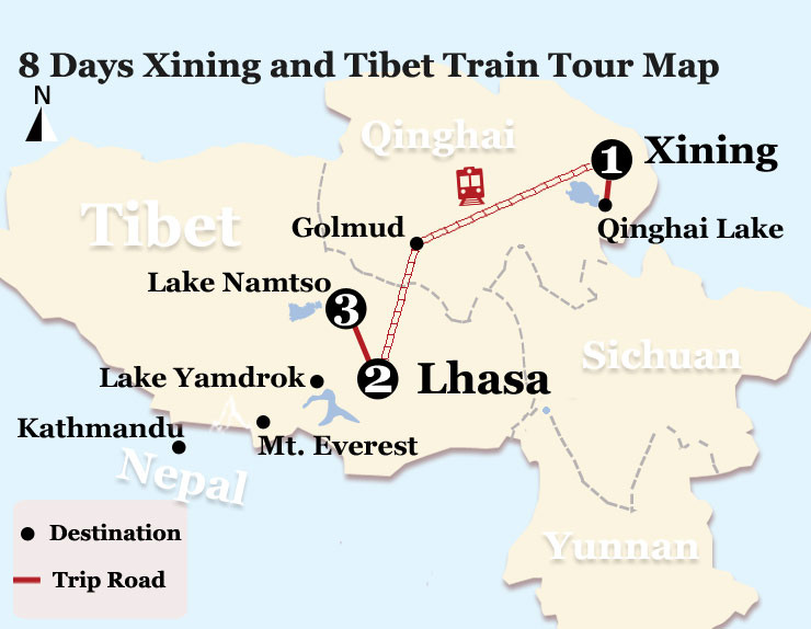 8 Days Beijign to Lhasa Train Tour Map