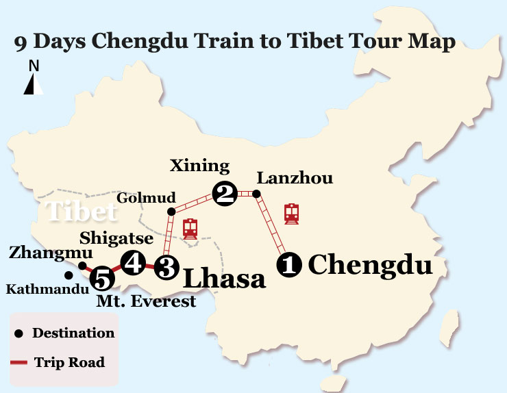 Map of 9 Days Lhasa and EBC Tour from Chengdu by Train