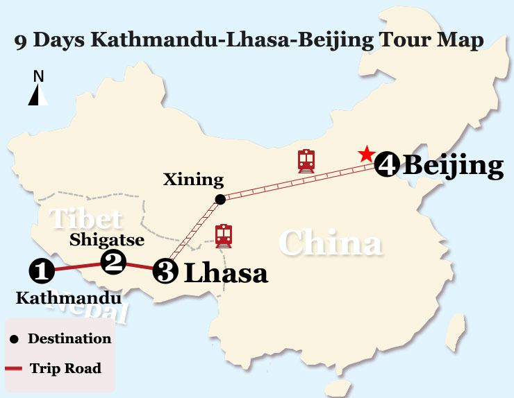 Map of 9 Days Kathmandu-Lhasa-Beijing Tour by Train