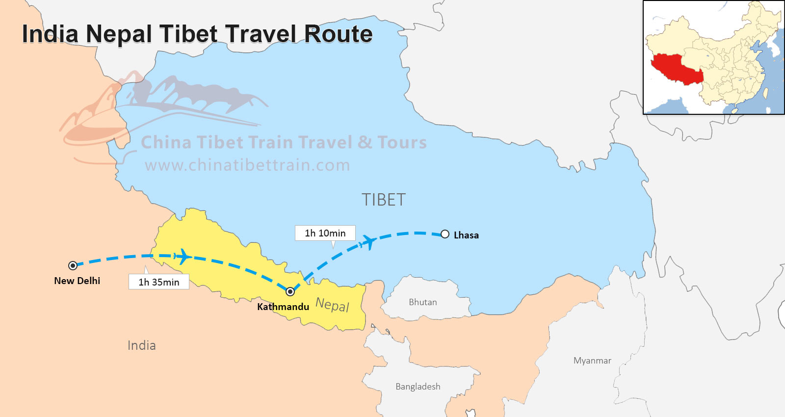 Tibet and Nepal Travel Maps Where is Tibet and Nepal and How to
