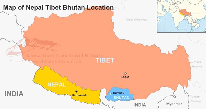 Tibet Nepal and Bhutan Travel Maps: Where is Tibet, Nepal ...
