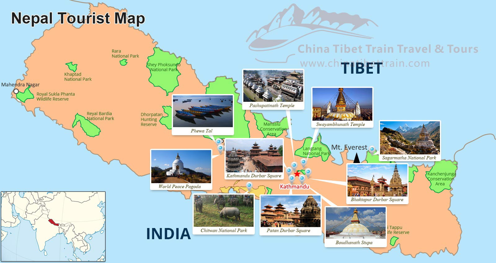 Tibet and Nepal Travel Maps: Where is Tibet and Nepal and How to ...