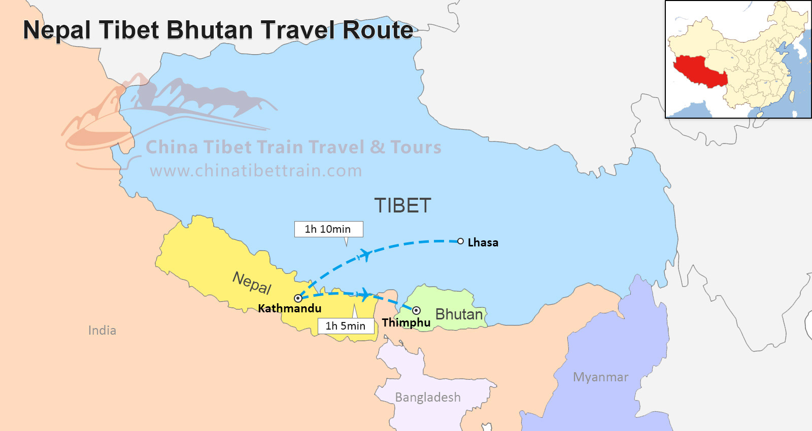 Nepal In The World Map.Tibet And Nepal Travel Maps Where Is Tibet And Nepal And How To