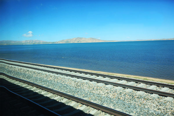 Getting close to the holy lake Conag on the Tibet train!